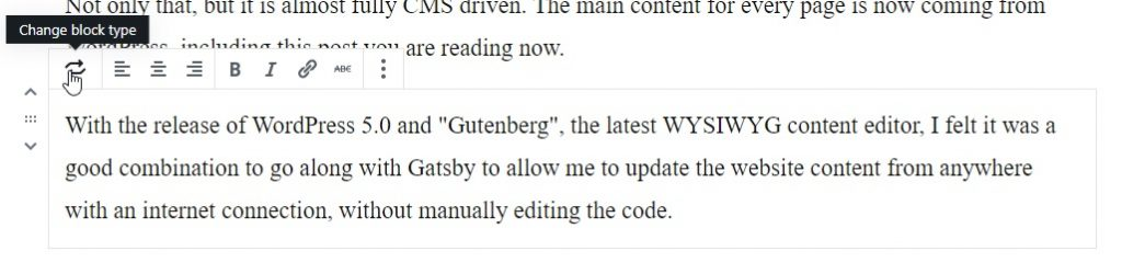 A preview of me using Gutenberg from WordPress 5